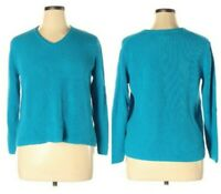 Chico's V Neck Silk Cotton Blend Cable Knit Pullover Sweater Blue Women's Sz XL