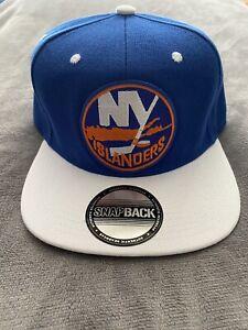 🏒NEW YORK ISLANDERS HOCKEY THROWBACK LOGO CAP HAT SNAPBACK NEW BLUE & WHITE