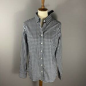 Banana Republic $59 Non Iron Fitted Shirt Size 14 Black White Gingham Check Top