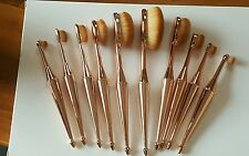 New Mermaid Toothbrush Arrow Handle10pc Rose Gold Oval Makeup Brush Set Boxed