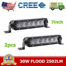 2X 30W 7INCH CREE Single Row LED Light Bar Slim Flood Jeep Bumper ATV Boat 4X4