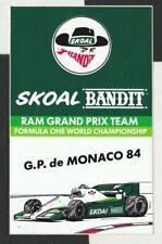 SKOAL BANDIT RAM HART RACING TEAM MONACO GP 1984 ORIGINAL PERIOD RACE STICKER