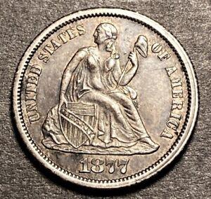 1877 CC Seated Liberty Silver Dime 10c High Grade AU Toned Small CC Type 2 Rev