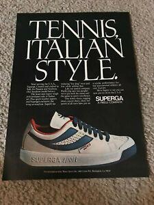 Vintage 1980 SUPERGA ITALIAN Tennis Shoes Poster Print Ad PIRELLI RARE