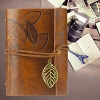 Retro Leather Vintage String Leaf Blank Diary Notebook Journal Sketchbook YLW Jм