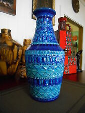 Retro 1960s fat lava vase, vintage Bay West German Bitossi style pottery antique