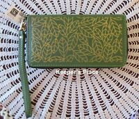 Avenue 9 GARDEN Clutch Wallet Wristlet Green With Gold Leaves Faux Leather