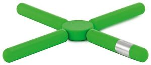 Blomus Knik Trivet, Green w/ Brushed Stainless Steel Accent, Space Saving Design