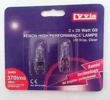 Xenon Capsule Bulbs Lamps, 28W G9 base, UV-Stop Clear, 240v, Pack 2 by Lyvia