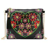 UN3F DIY Heart Flower Special Shaped Diamond Painting Leather Chain Shoulder Bag