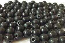 100 piezas de joyería negro haciendo Forma Redonda Cuentas de Vidrio 8mm G0119