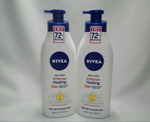 2 NIVEA BODY LOTION Intense Healing with B5 16.9oz ea with Pump Dry Rough