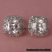 Clear White Crystal 18K White Gold GP Square Ear Studs Earrings IE046A