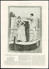 1888-Antico fine art print Miss Peggy J Bernard Partridge Canal Barca (168)