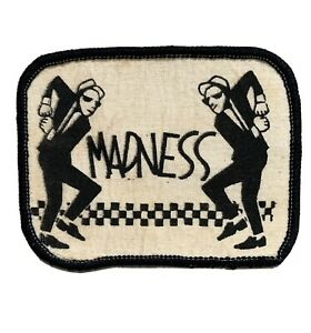 Vintage 1980s MADNESS Printed Fabric Patch Sew On Ska man Dancing 2 Tone Records