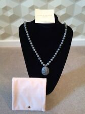 Lola Rose Bohemian Express Long Oval Pendant Grey Agate Necklace BNWT