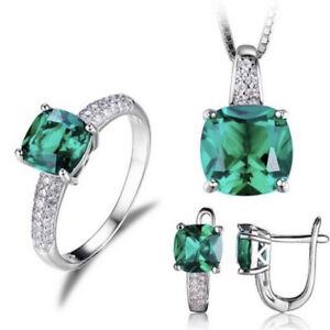 Emerald Birthstone Set. 925 Silver Plated.Ring Sizes J-V. New.