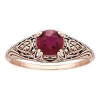 10k Rose Gold Vintage Style Genuine Round Ruby Scroll Ring