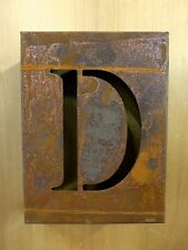 "8"" RUSTY RUSTED INDUSTRIAL METAL BLOCK CUT SIGN LETTER D vintage marquee wall"