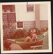 Vintage Photograph Young Woman in Bathing Suit Sitting in Hammock