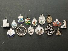 15 VINTAGE SILVER / SILVER & ENAMEL CHARMS inc CANADA BETHLEHEM, ST. CHRISTOPHER