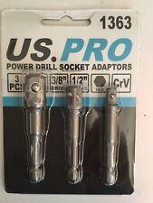"US. Pro Power Drill ADATTATORI SOCKET 3pc 1/4 3/8 1/2"" unità 1/4"" GAMBO ESAGONALE CRV"
