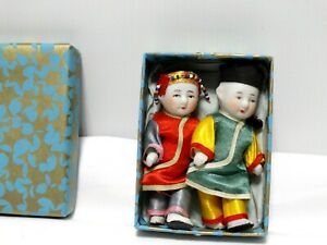 """Miniature 3.75"""" Jointed Bisque Chinese Asian Girl & Boy Dollhouse Dolls Japan"""