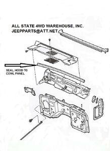 Jeep Wrangler TJ 1997-2006 Hood To Cowl Seal