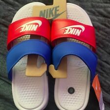 New Nike Benassi Duo Ultra Red & Blue Slide Sandals, Women's,, Size 8