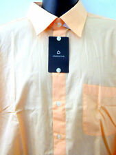 New Claiborne Shirt Mens XL Peach Orange Long Sleeves Button Front Cuff 17.5