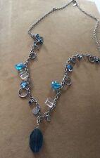 Silver Tone Long Mythologie Signed Blue Clear Gem Charm Pendant Necklace