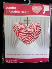 "INFLATABLE HEART 12"" Balloon Ornament Red Animal Print Fabric Reusable New"
