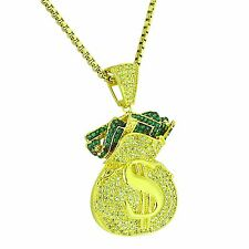 Iced Out Money Bag Pendant Canary & Green Simulated Diamond Gold Tone Free Chain