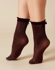 Agent Provocateur GLITZY Socks O/S NWT Black & Gold Orig. $45 RARE!