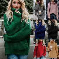 Women High Neck Sweater Chunky Knitted Pullover Jumper Long Sleeve Baggy Tops