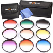 9pcs Kit Graduated Color ND Filter Set + Cleaning Cloth + Pouch / Diameter 67mm