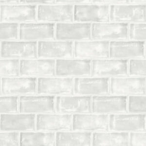 Modern Wallpaper Ceramic Tiles White Muriva Pattern L33209 Batch A