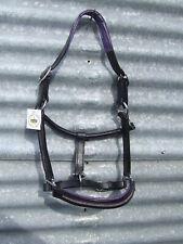 Ecotak black leather headstall with purple padding & diamontes