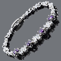 Round Cut Purple Amethyst 18K White Gold Plated Cubic Zirconia Tennis Bracelet