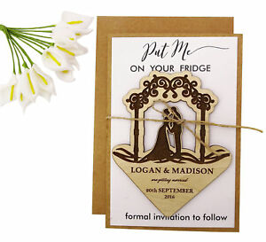 Personalized Wooden Engraved Magnets Wedding Announcements With Envelopes-MG61