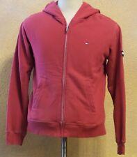 Vintage Tommy Hilfiger Red Cotton Hoodie Sz Medium M Retro Full Zip Sweatshirt