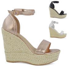 Womens High Wedge Platform Heel Sandals Ladies Ankle Strap Peep toe Espadrilles