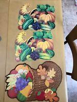 Vintage Die Cut Cardboard Cornucopia Fruits Veggies Thanksgiving Decoration Lot