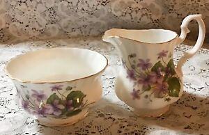ROYAL IMPERIAL Violets w/ Gold Trim Bone China Cream & Sugar Set England