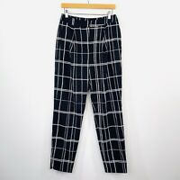C/MEO Womens Pants Black White High Waist Check Size L fit 12