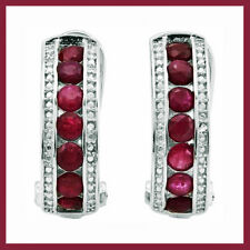 2.26 CARATS GENUINE RUBY & DIAMOND FRENCH BACK EARRINGS 925 STERLING SILVER New