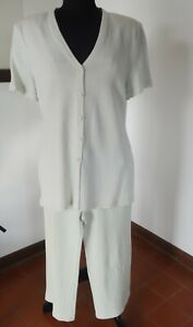 Vintage ST JOHN Marie Gray Collection 10/12, Pants/Top Suit 2 pc, USA, w stains