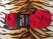 BNWT Ralph Lauren Uomo Nero/Grigio/Rosso Polo Cavallo Logo 3 Pack Calzini Sportivi