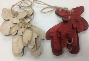 4 x Reindeer Hanging Wooden decoration tiered size shabby chic wood craft shape