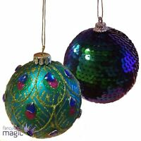 Gisela Graham 8cm Peacock Feather Glass Hanging Christmas Tree Bauble Decoration